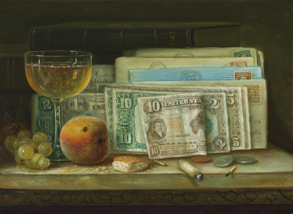 Still Life with Currency, Wine Glass, and Peach