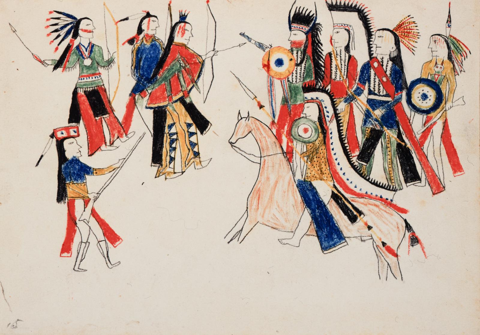 Kiowas and Navajos Preparing for a Fight