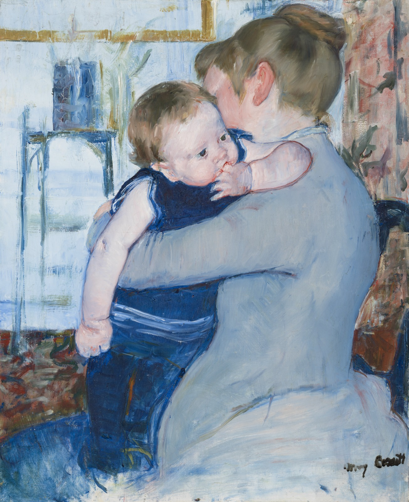 Baby in Dark Blue Suit, Looking Over His Mother's Shoulder